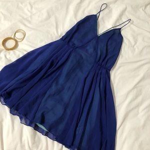 Royal Blue Chiffon Backless Skater Mini Dress